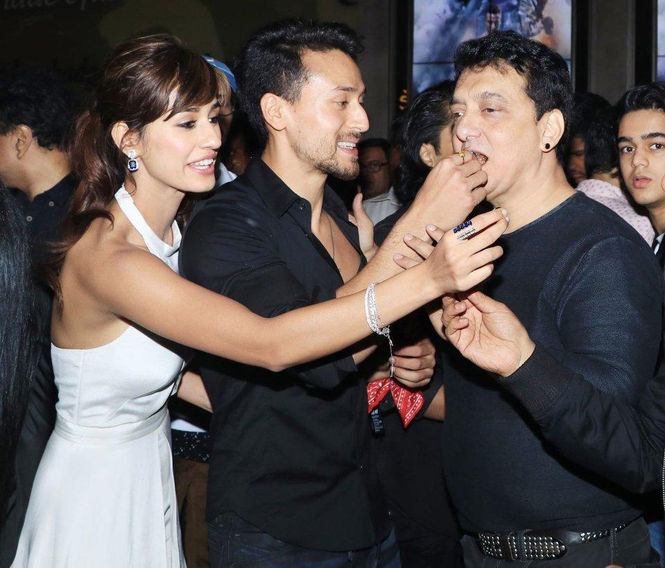 Baaghi 2 Screening - Tiger Shroff, Disha Patani with producer Sajid Nadiadwala