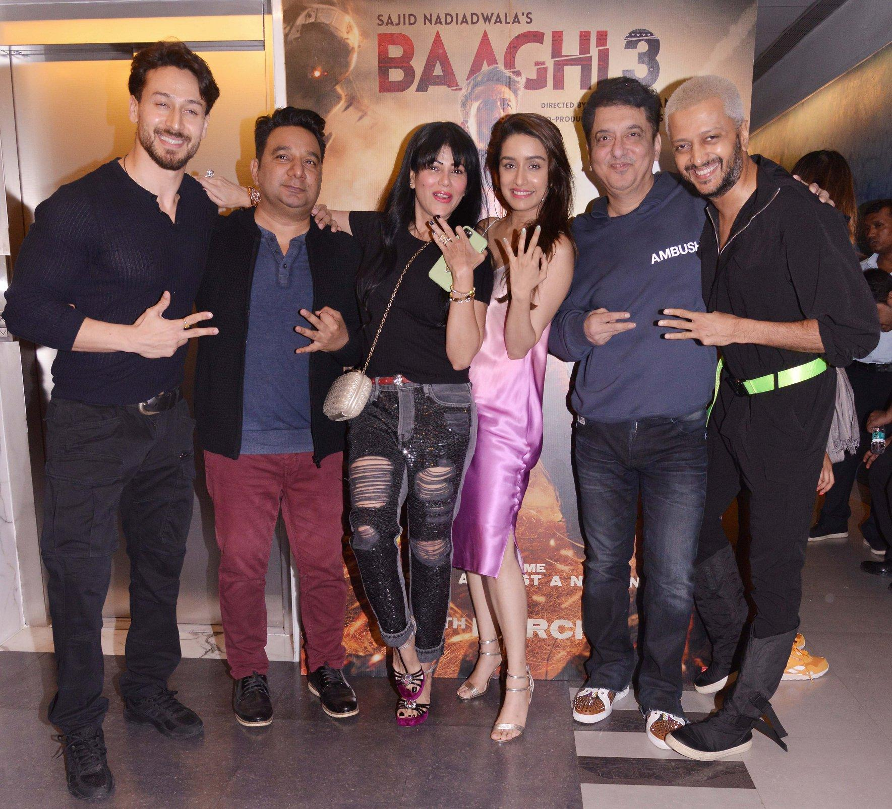 Baaghi 3 Screening - Tiger Shroff, Shradhdha Kapoor and Riteish Deshmukh with producer Sajid Nadiadwala